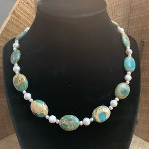 Turquoise & Pearl Necklace with 925 clasp